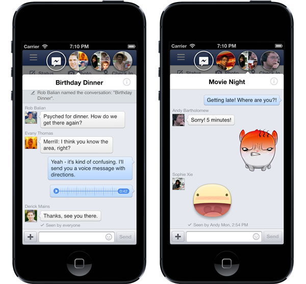 Facebook chat heads, iOS facebook home, facebook home for Apple, facebook home for iphone