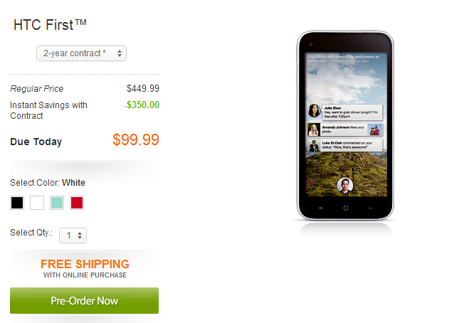 HTC First Pre-order. Pre order HTC first