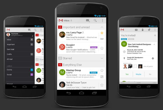 Gmail 5 for Android concept revealed by the App Designer.