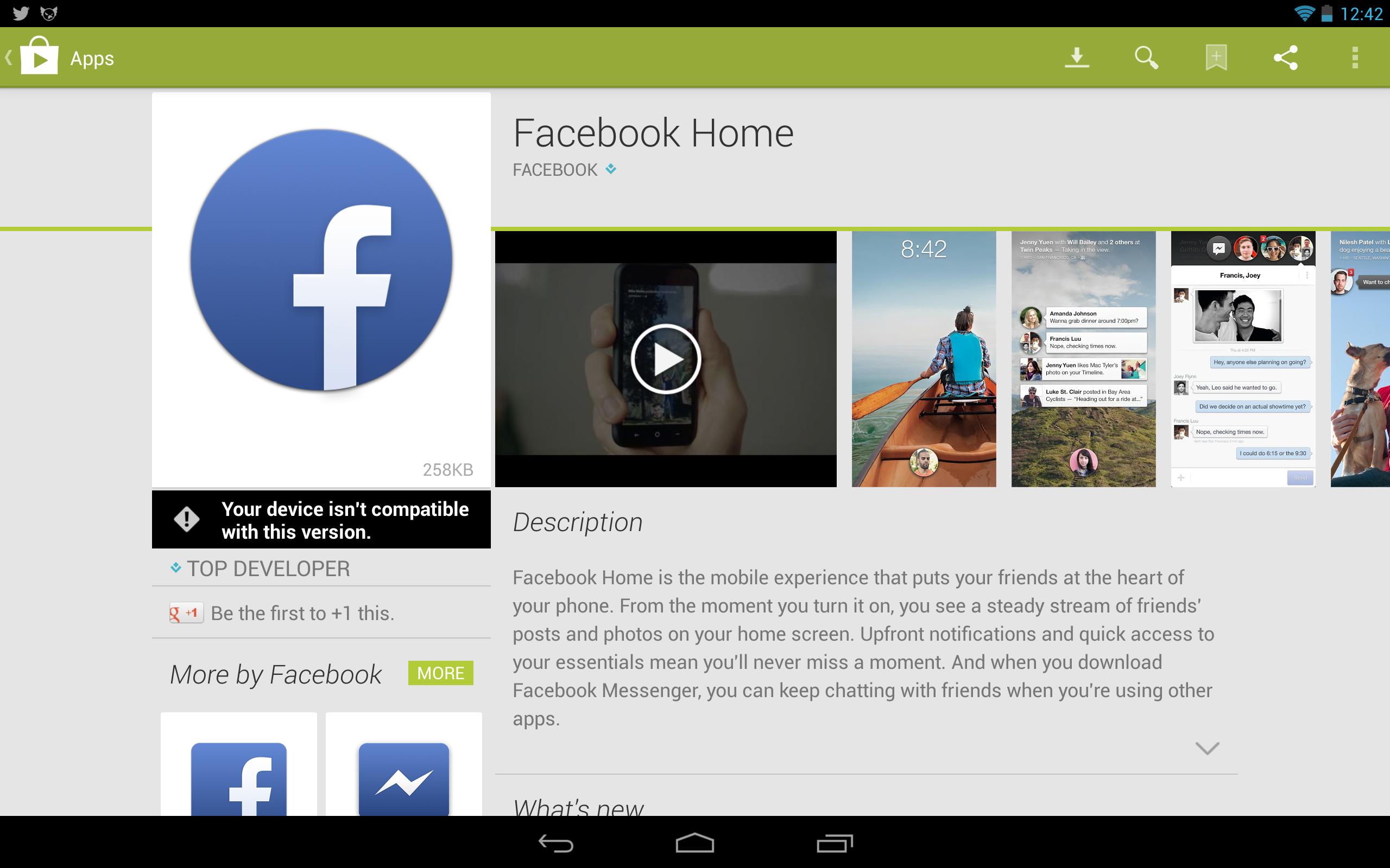 Facebook Home google store
