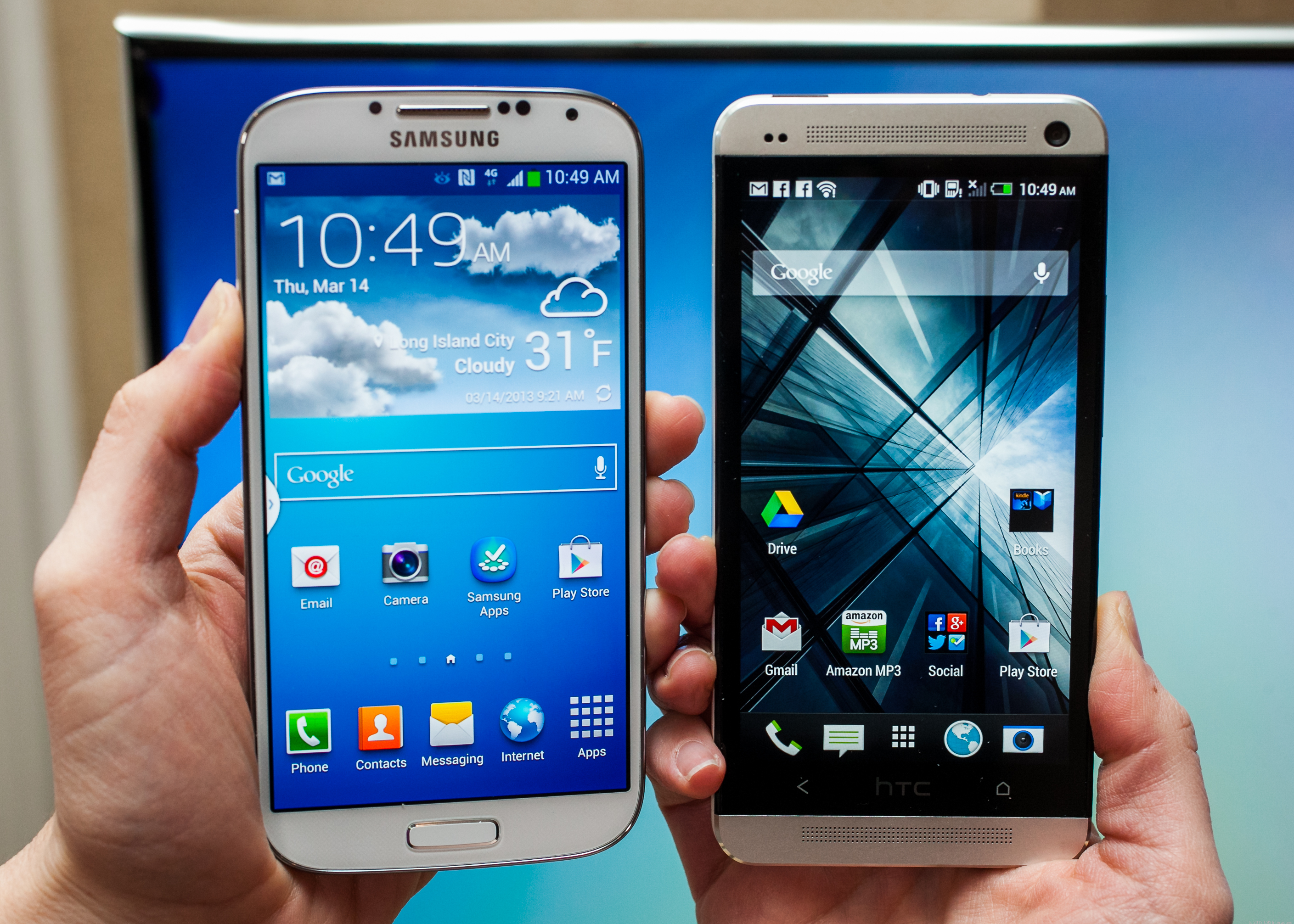 Samsung Galaxy S4 vs iPhone 5 vs HTC One.