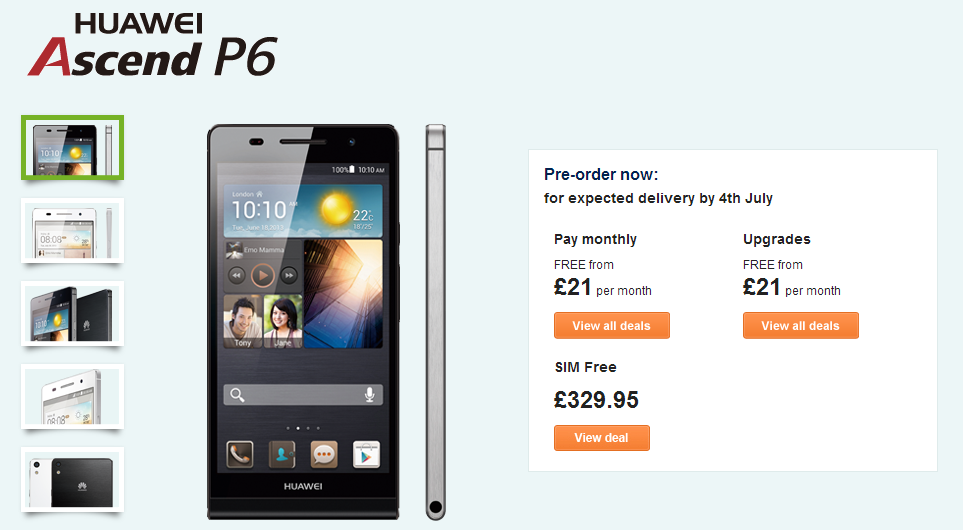 Huawei Ascend P6   Carphone Warehouse