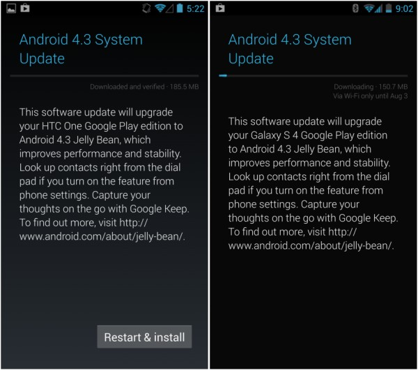 Android 43 Galaxy S4 Android 43 OTA update OTA ANdroid 43 update Android 43 HTC one