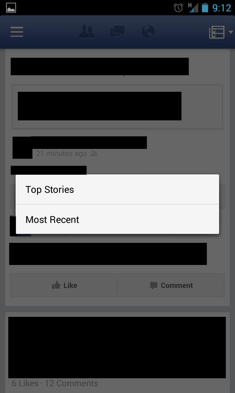 Facebook Android alteration