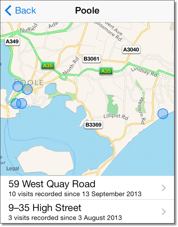 Use frequent locations on iOS 7