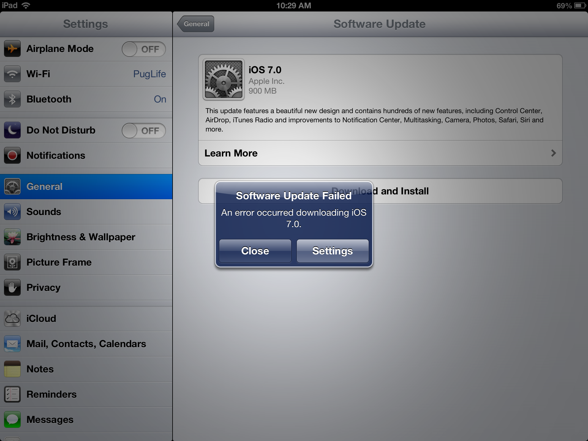 The issues which occurs in the installation of iOS 7 update