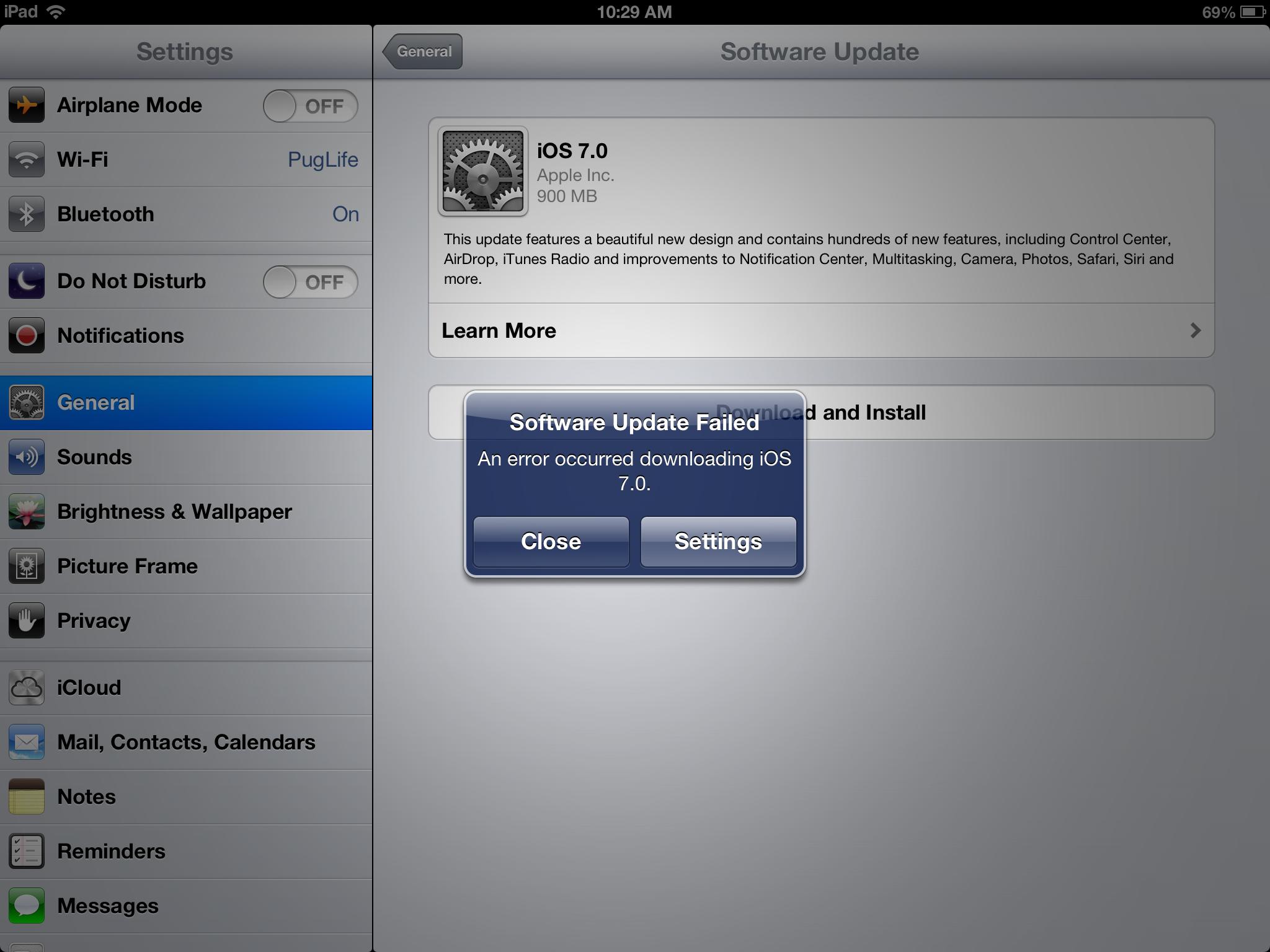 iOS 7 instalation problem