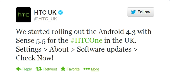 HTC One getting Android 4.3 Jelly Bean
