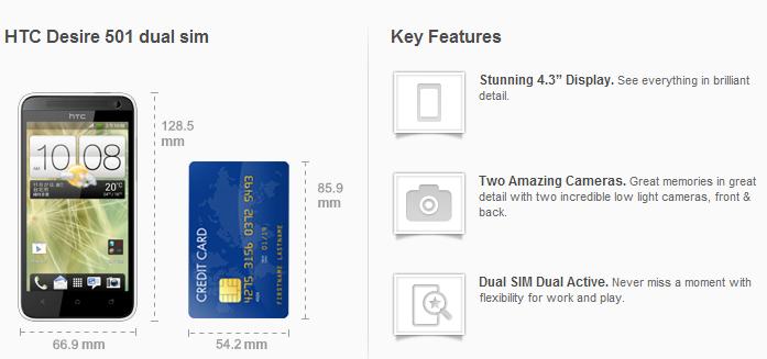 HTC Desire 501 dual siM2