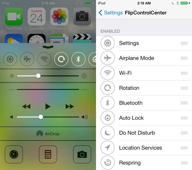 FlipControlCenter: The best Cydia tweak for Customize iOS 7 Control Center