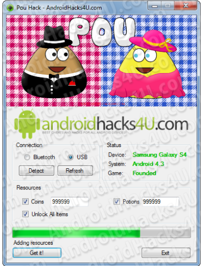 Pou Hack Add Unlimited Potions Coins and MORE for Android 2014