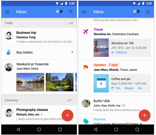 Download Google Inbox 1.0 Apk, New Email replacement system by Google.