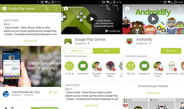 Google Play Store Update 4.9.13 Adds Mat… Google Nexus 4
