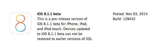Apple iOS 8.1.1 Beta 1 (12B432) IPSW Firmware