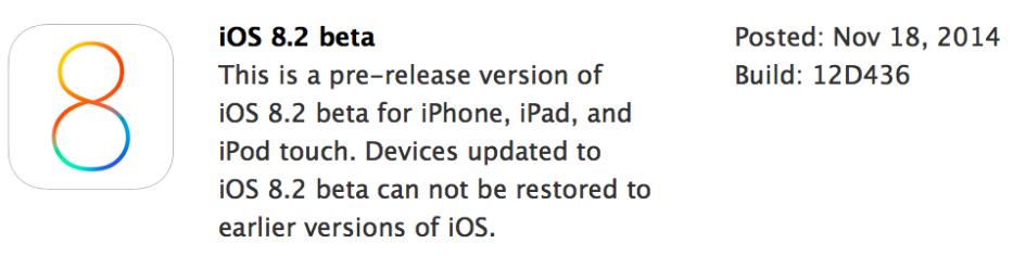 Apple iOS 8.2 Beta (12D436) Firmware OTA Update