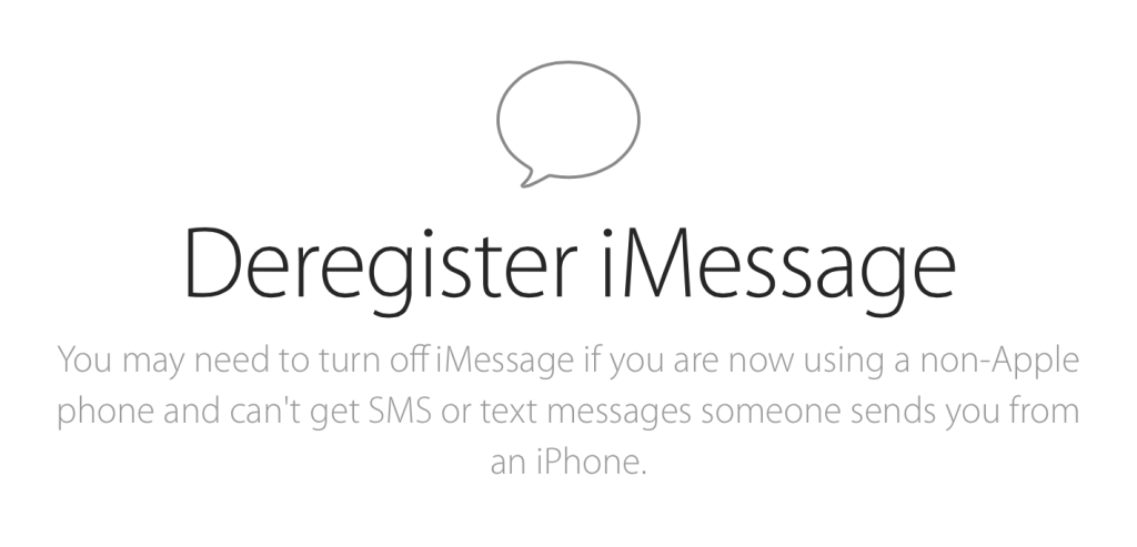 deregister a phone number from iMessage