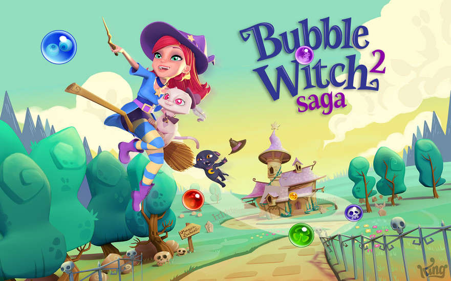 Bubble Witch 2 Saga v1.18.1 Mod Apk with Unlimited Lives, Boosters and Moves.