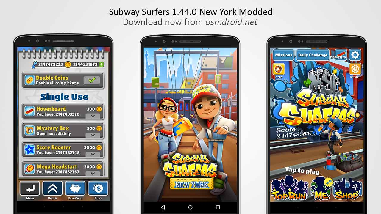 Subway Surfers New York 1.44.0 Mod Apk with unlimited Coins and Keys.