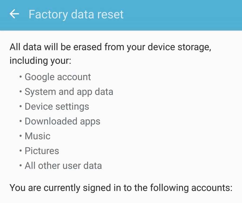 Factory Data Reset galaxy S7 Edge