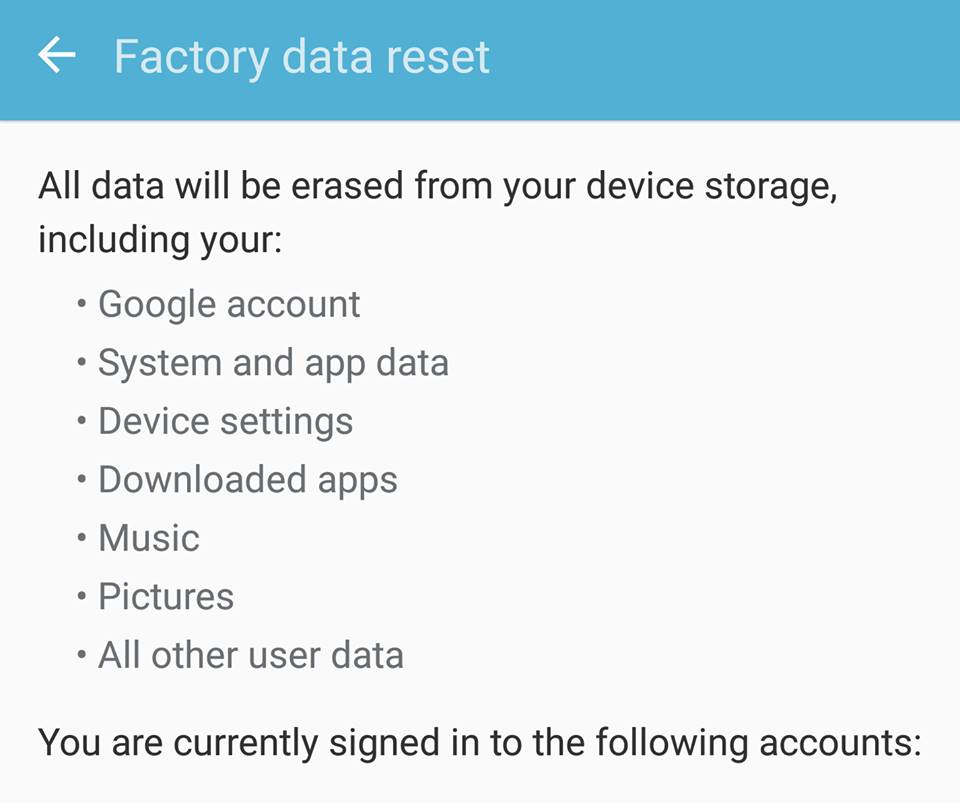 Factory Data Reset galaxy S7 Edge