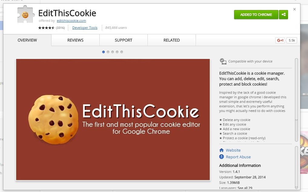 Edit This Cookie extension