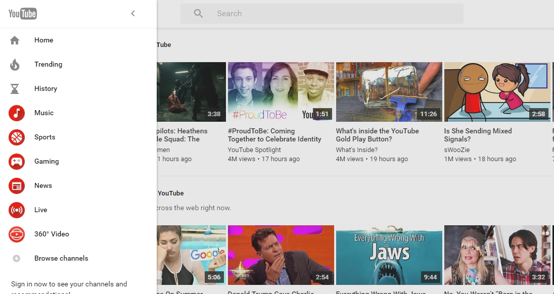 YouTube Material Design new