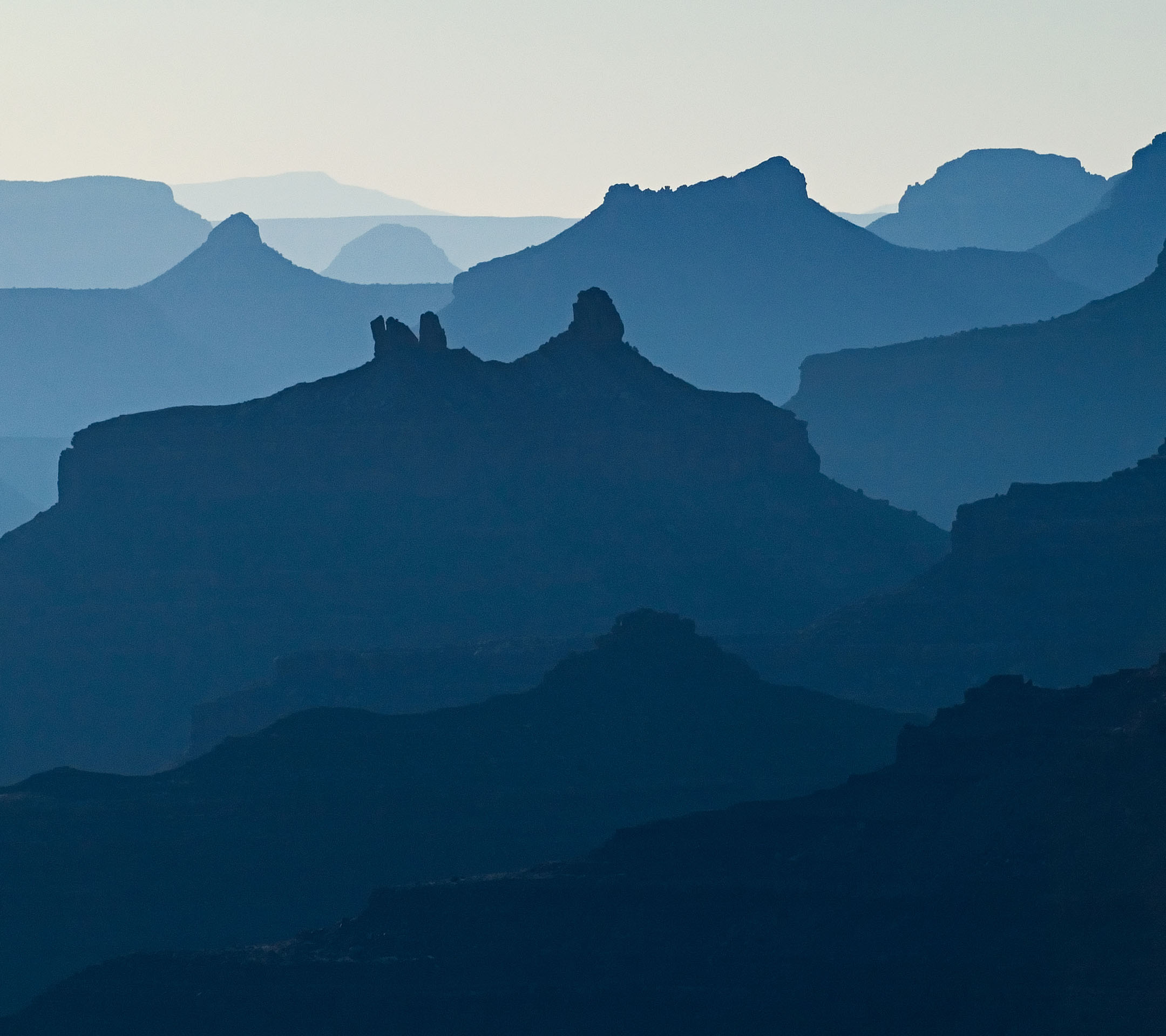 Siluette of the Grand Canyon (Desert view) at sunset, Arizona, USA