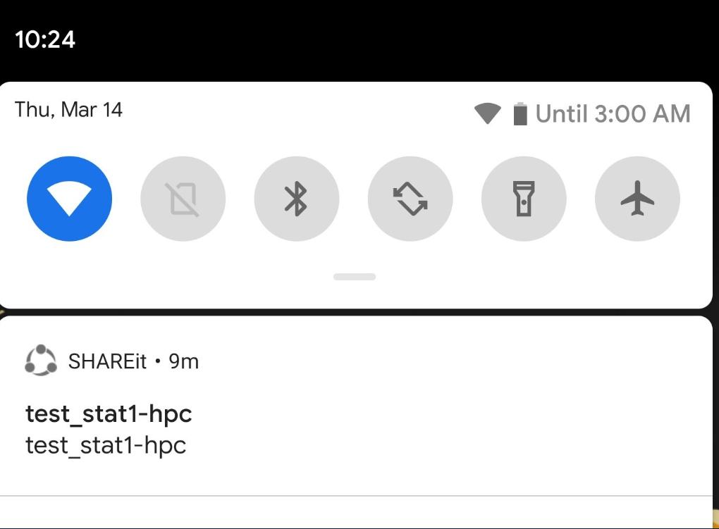 Shareit notification Test_Stat1-hpc error