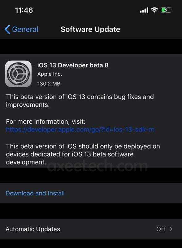 iOS 13 Beta 8 ipsw Download Link