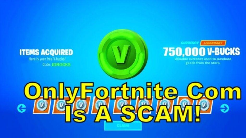 OnlyFortnite com free Vbucks Scam