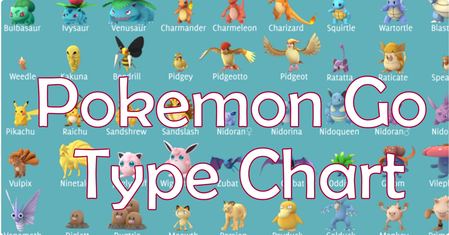 Pokemon Go Type Chart Characters details