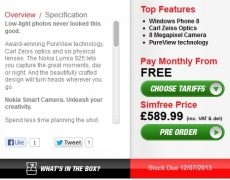 SIM free Nokia Lumia 925 coming to UK on 12th June, for £589.99.