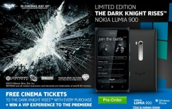 "Nokia Lumia 900 carrying  ""Dark Night"" Logo."