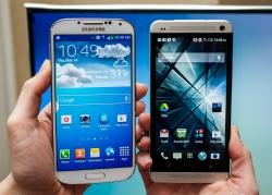 Samsung Galaxy S4 vs iPhone 5 vs HTC One.